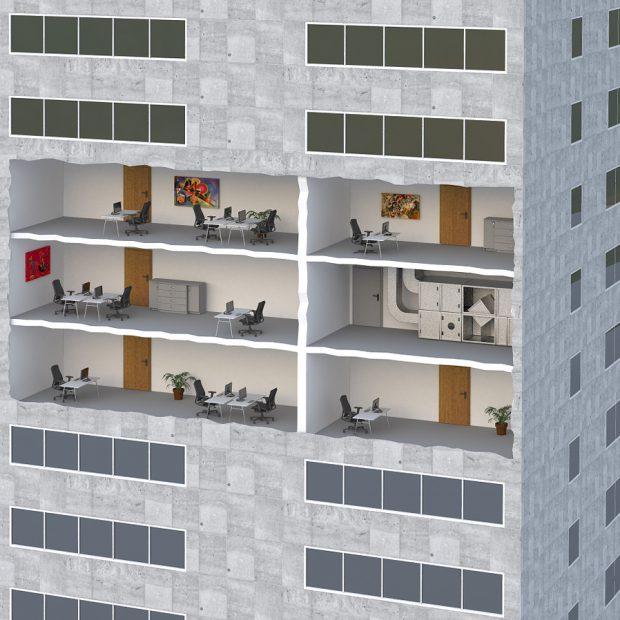 Bürohaus 3D Grafik Ausschnitt